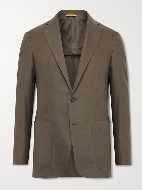 CANALI Kei Slim-Fit Linen and Wool-Blend Suit Jacket