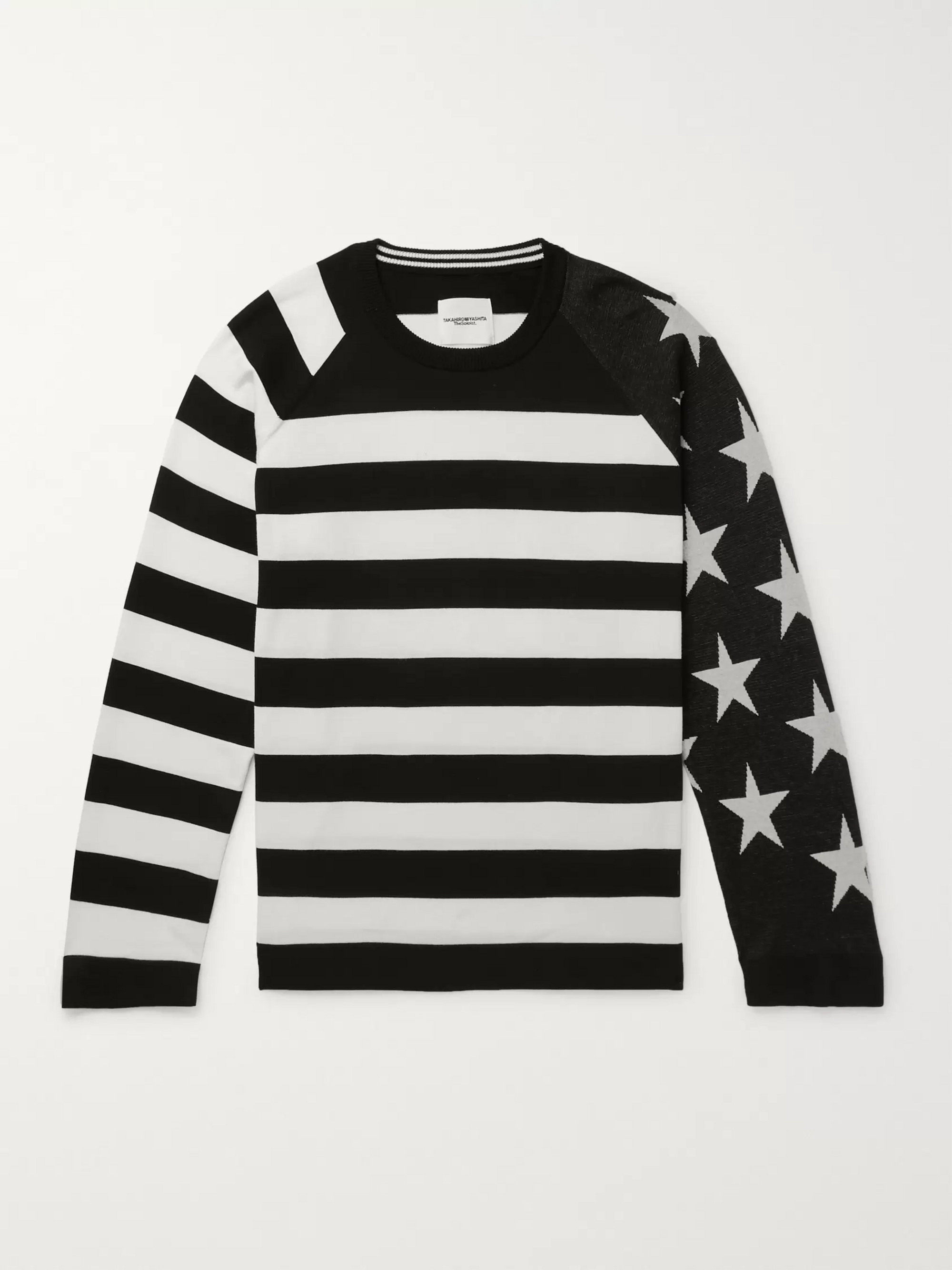TAKAHIROMIYASHITA TheSoloist. Intarsia Striped Cotton Sweater
