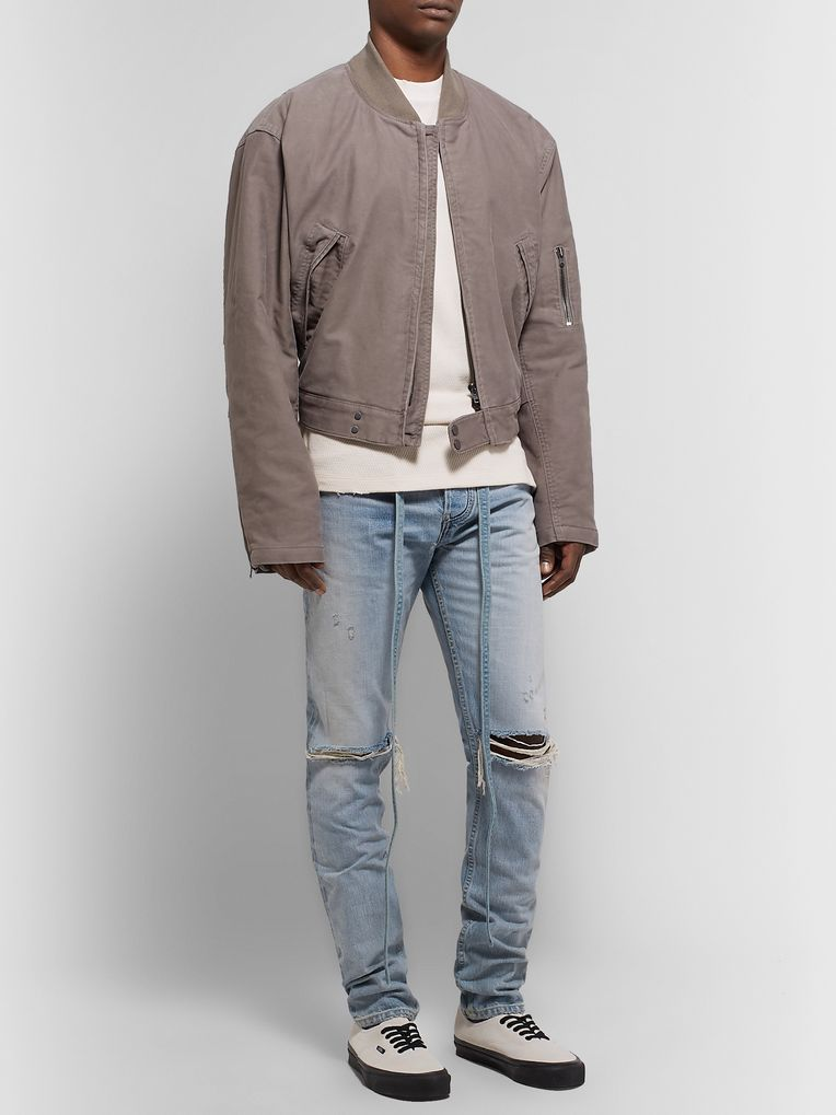 Fear of God Slim-Fit Belted Distressed Selvedge Denim Jeans