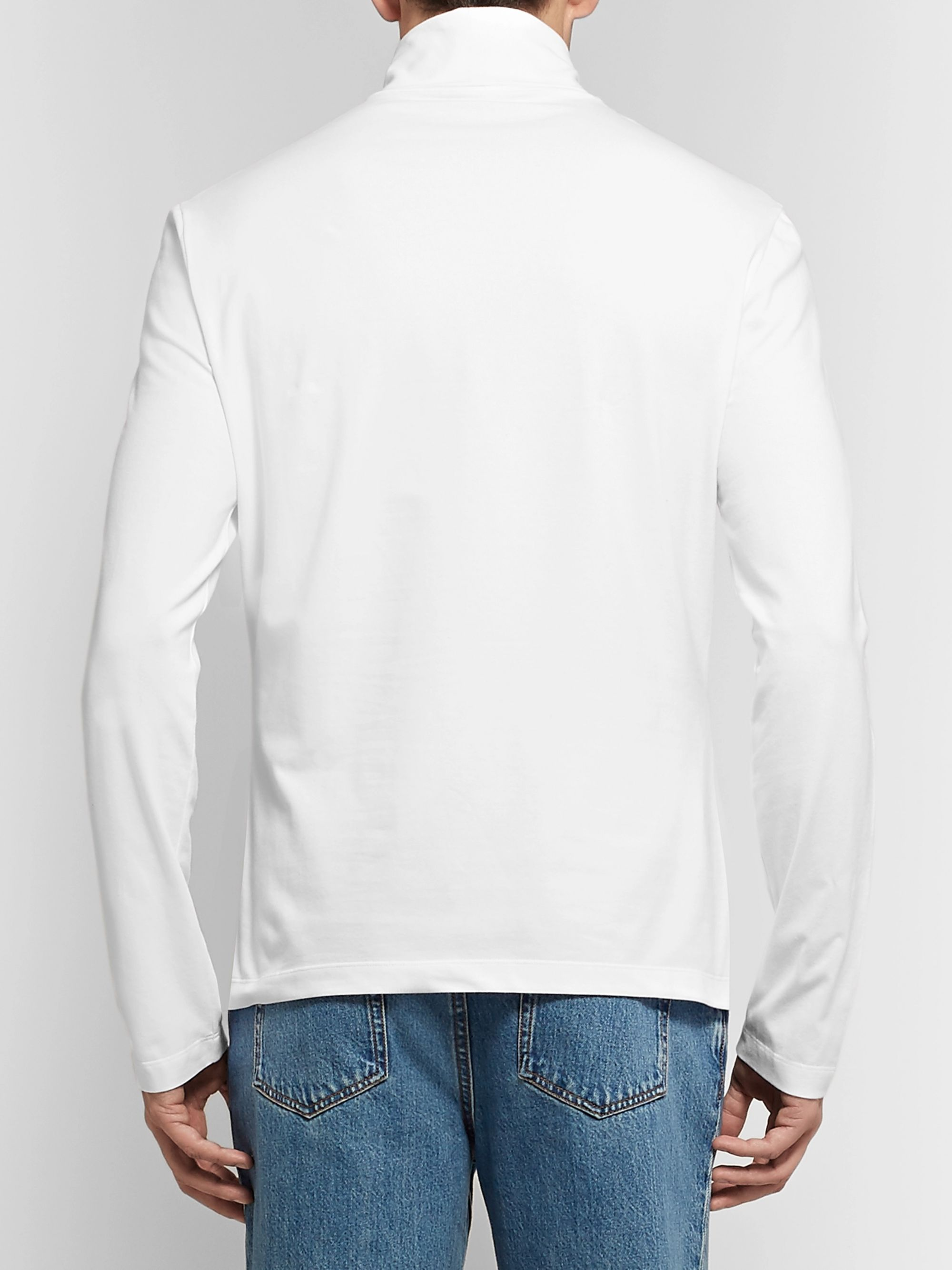 CALVIN KLEIN 205W39NYC Slim-Fit Logo-Embroidered Stretch-Cotton Jersey Rollneck T-Shirt