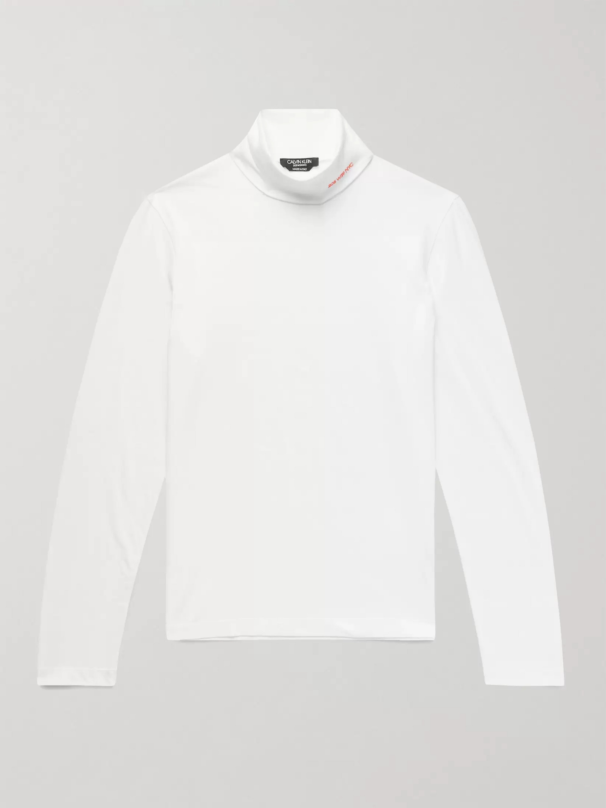 328e93f3c3cb CALVIN KLEIN 205W39NYC Slim-Fit Logo-Embroidered Stretch-Cotton Jersey  Rollneck T-