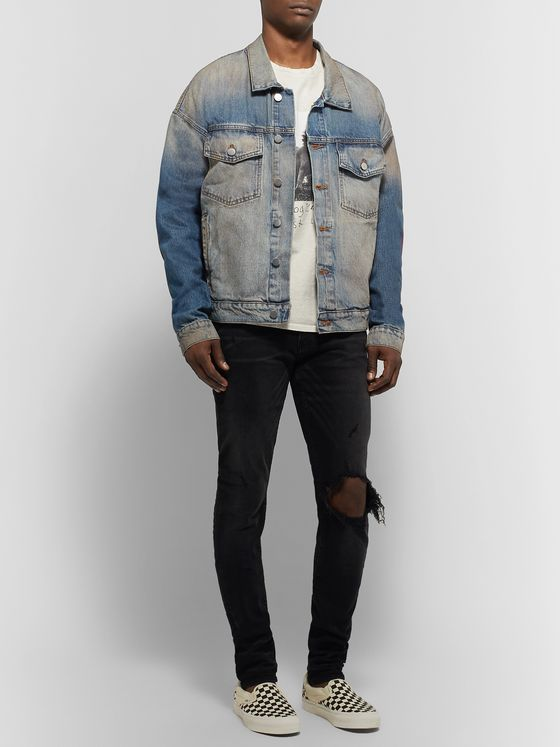 Rhude Oversized Suede Elbow-Patch Distressed Denim Jacket