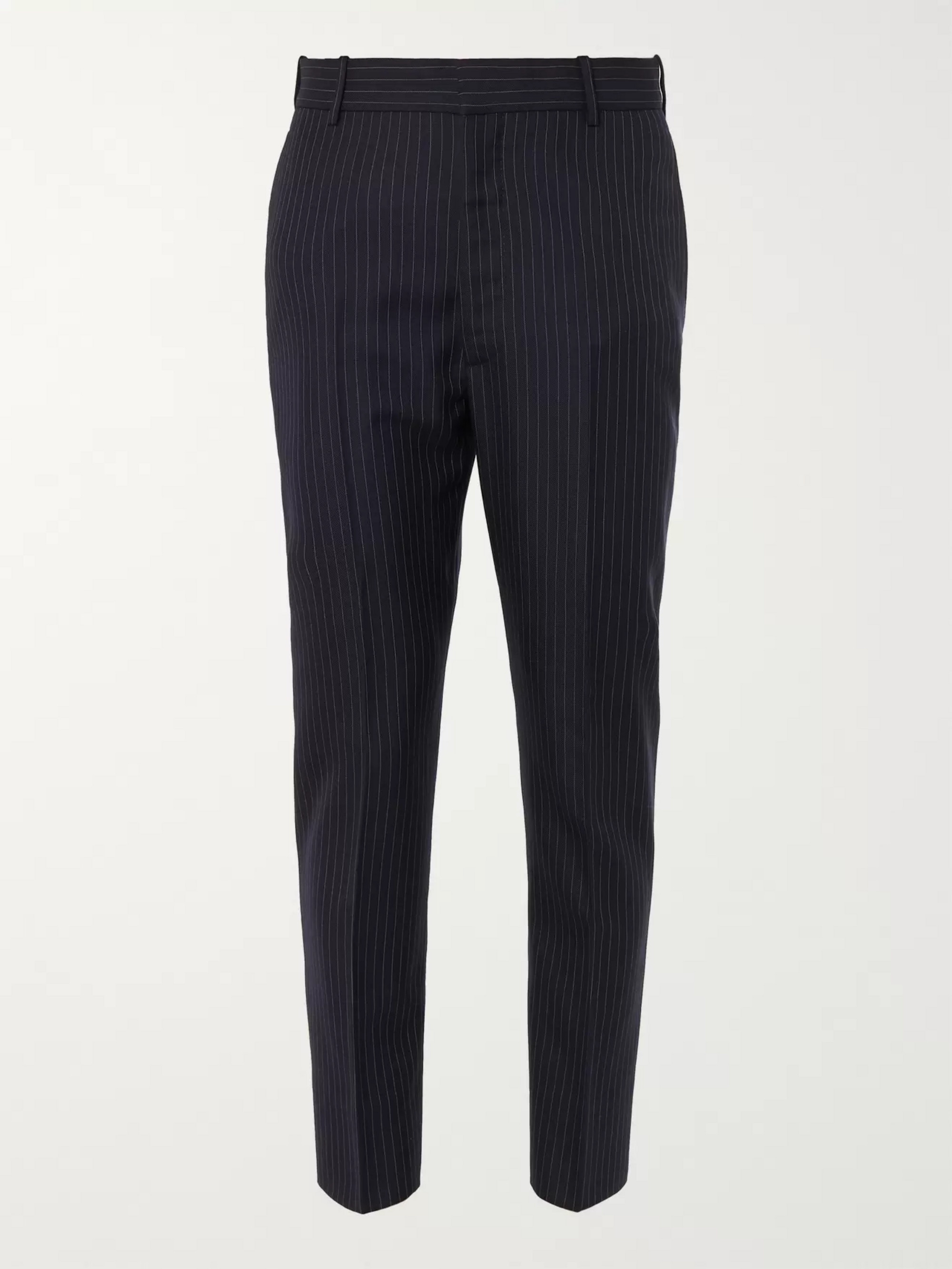 Alexander McQueen Navy Slim-Fit Pinstriped Wool Suit Trousers