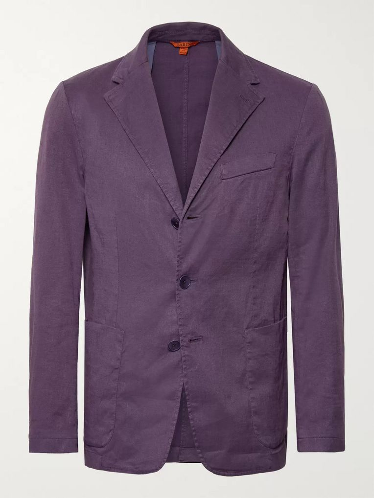 Barena Purple Slim-Fit Unstructured Stretch Linen and Cotton-Blend Blazer