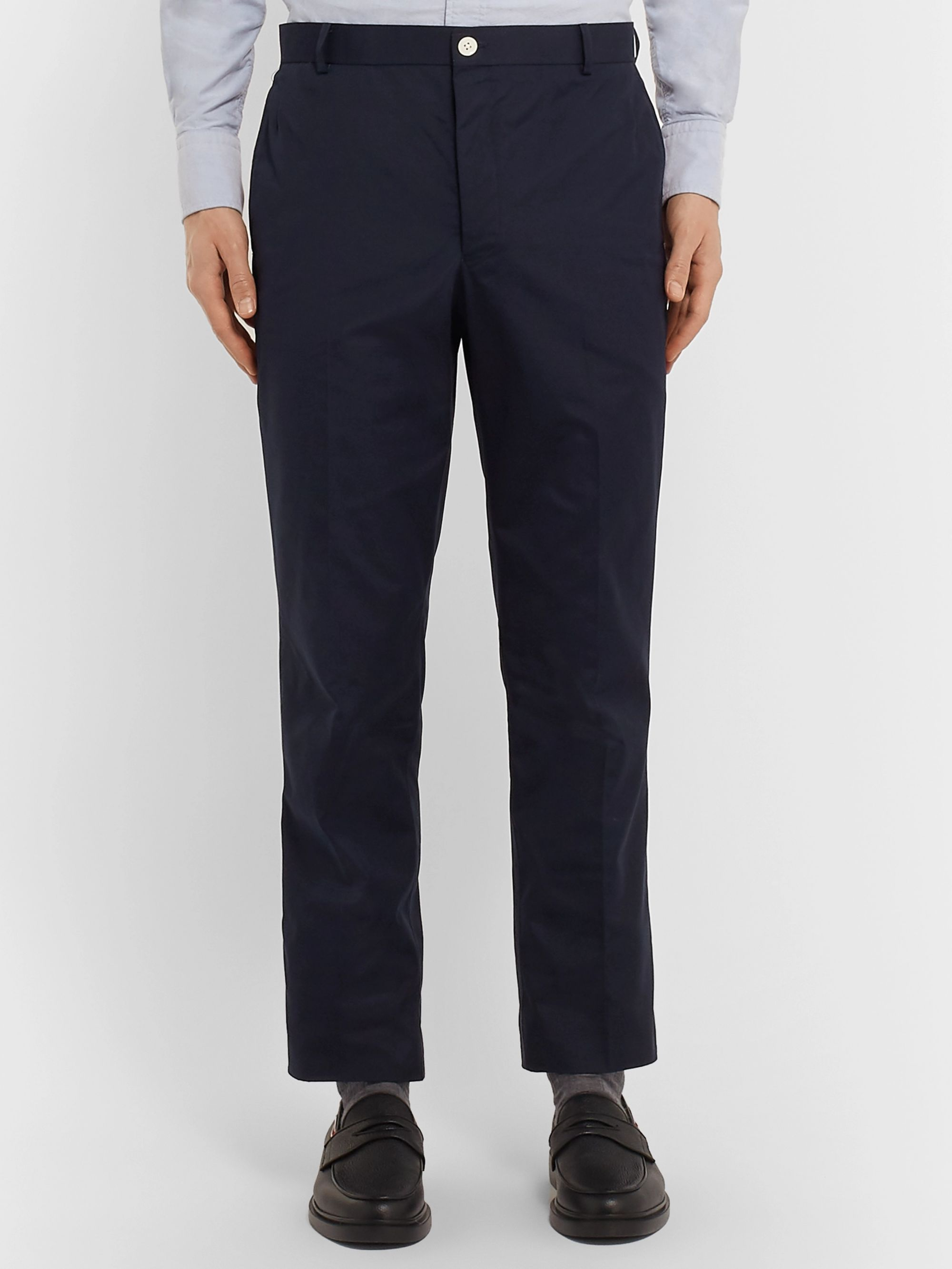 Thom Browne Navy Stripe-Trimmed Canvas Trousers