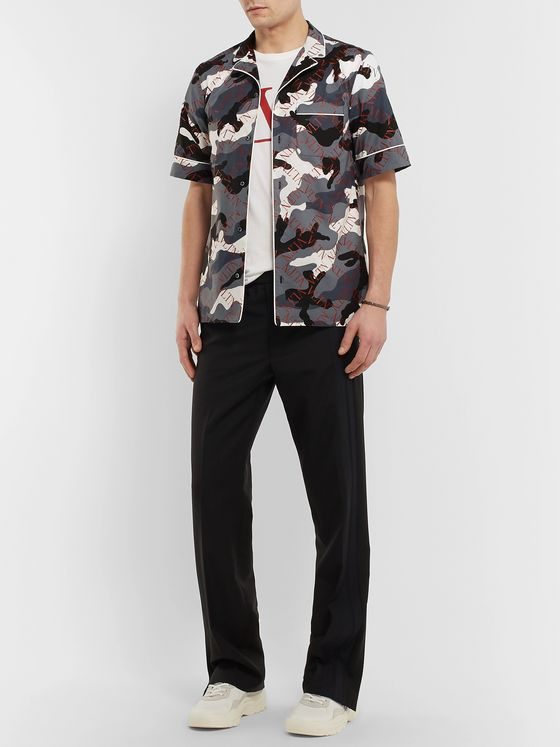 Valentino Camp-Collar Piped Printed Cotton-Poplin Shirt