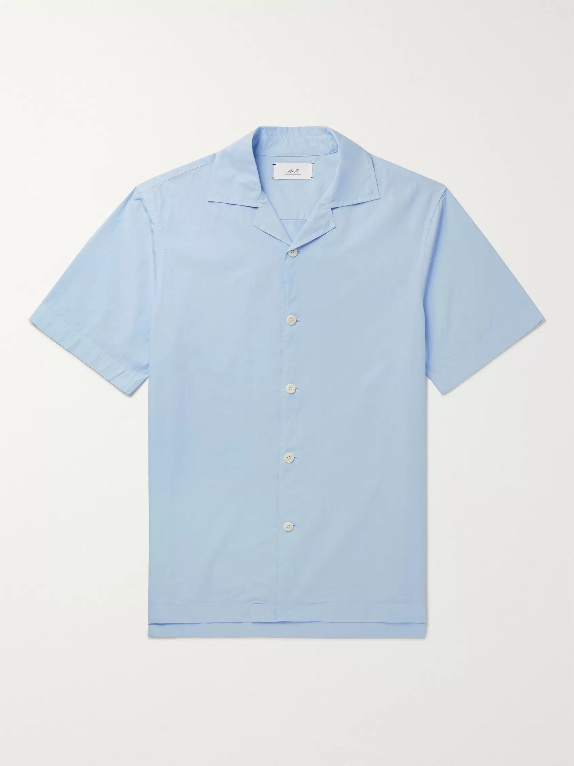 Mr P. Camp-Collar Garment-Dyed Cotton-Poplin Shirt