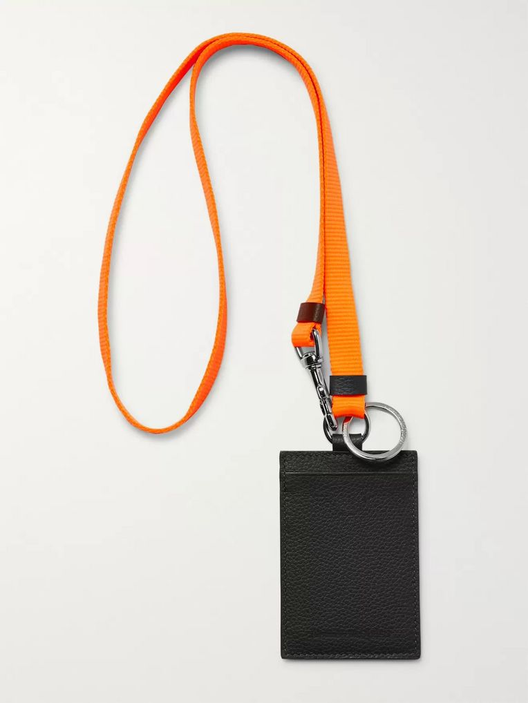 Alexander McQueen Full-Grain Leather Cardholder with Webbing Lanyard