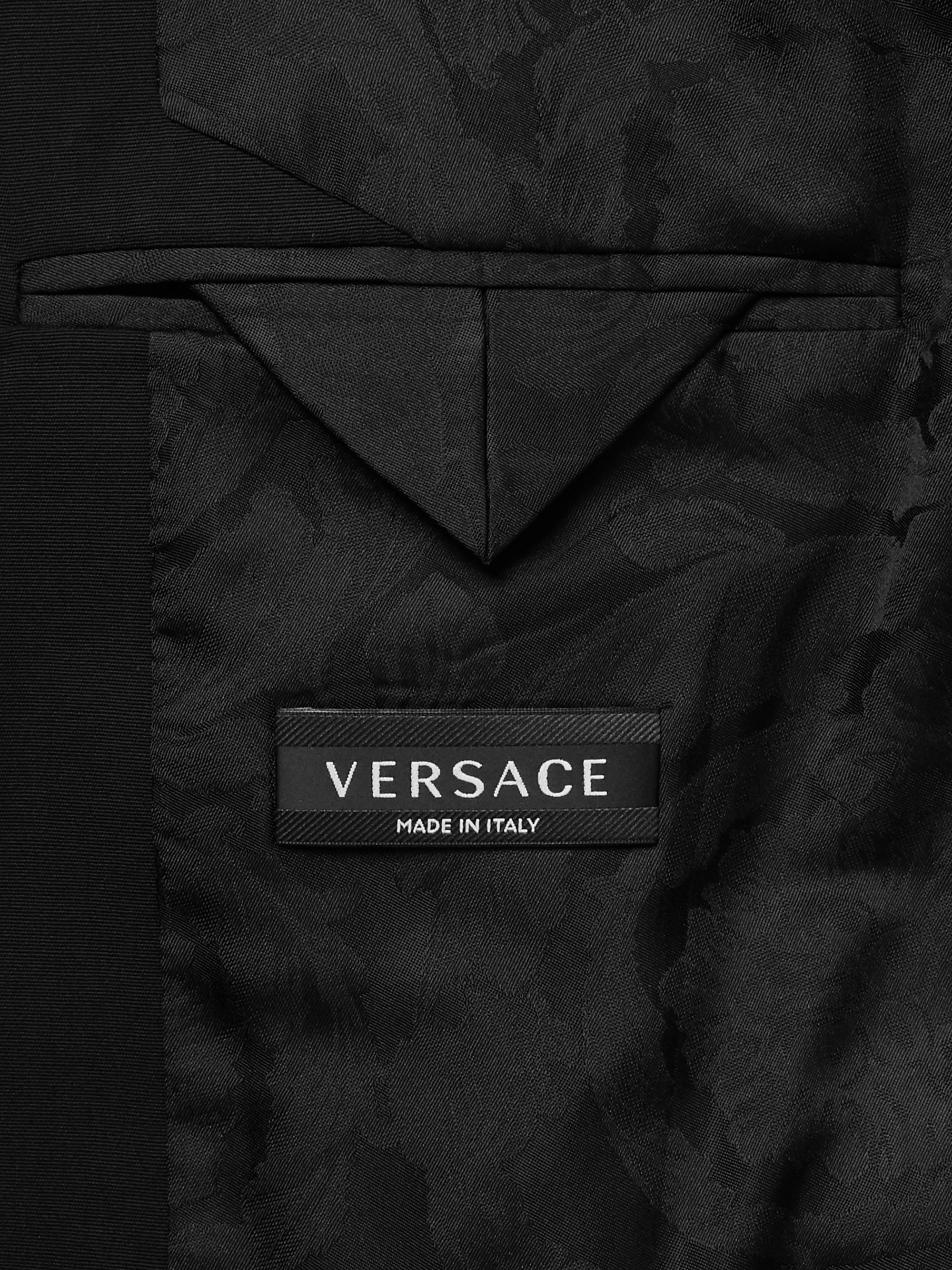 Versace Black Slim-Fit Contrast-Trimmed Virgin Wool Blazer