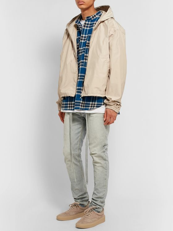 Fear of God Grandad-Collar Checked Cotton-Flannel Shirt