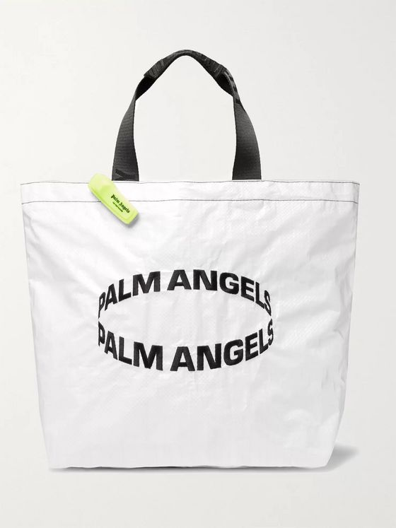 Palm Angels Logo-Embroidered Coated Woven Tote Bag