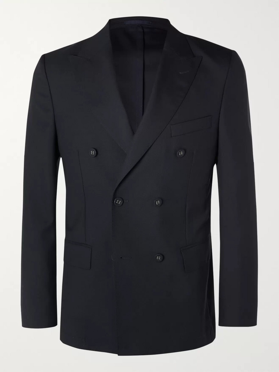 Officine Generale Navy Unstructured Slim-Fit Double-Breasted Wool Blazer