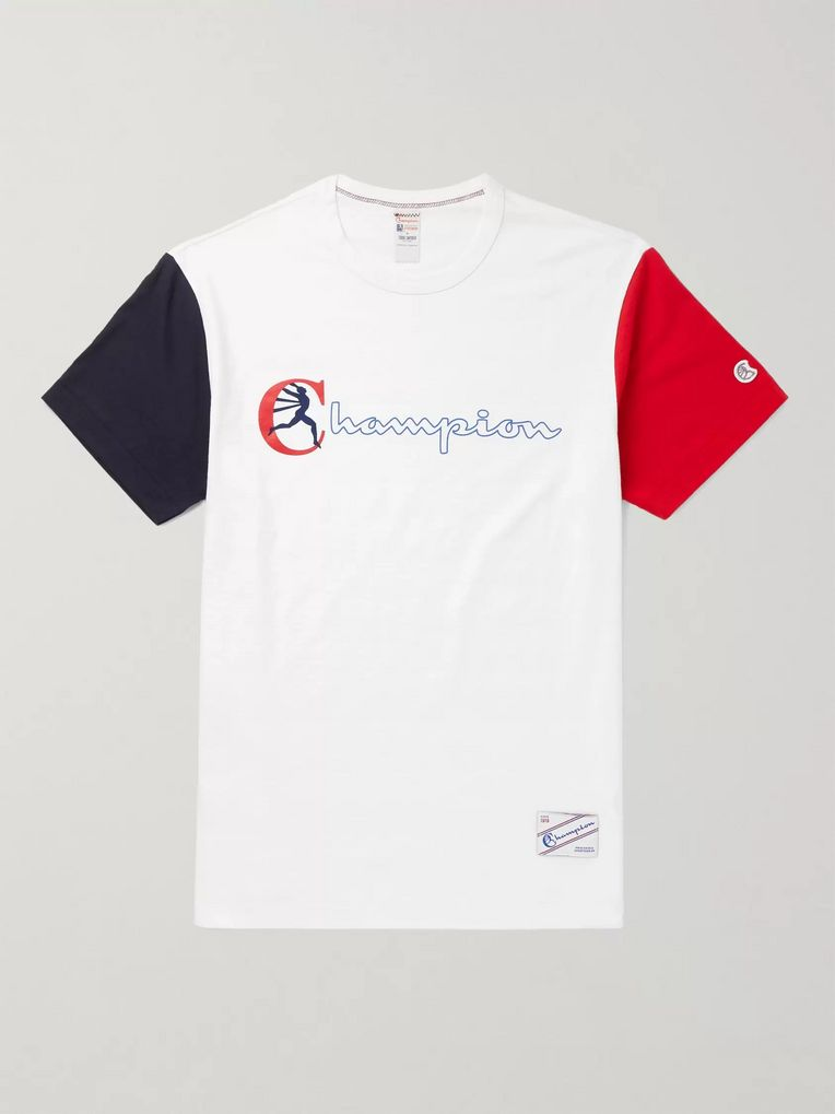 Todd Snyder + Champion Colour-Block Logo-Print Cotton-Jersey T-Shirt