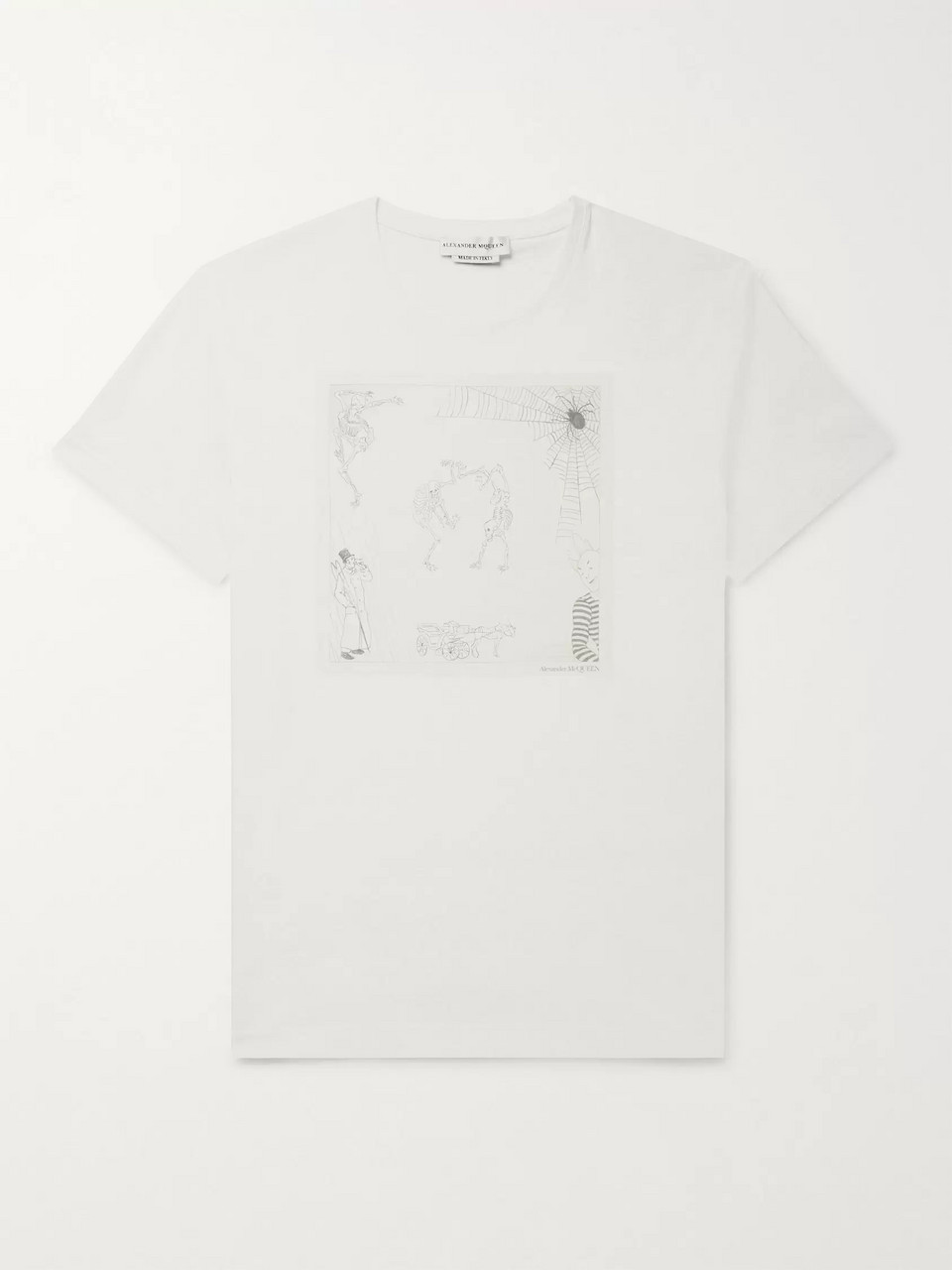 1bec20ca White Printed Cotton-Jersey T-Shirt | Alexander McQueen | MR PORTER