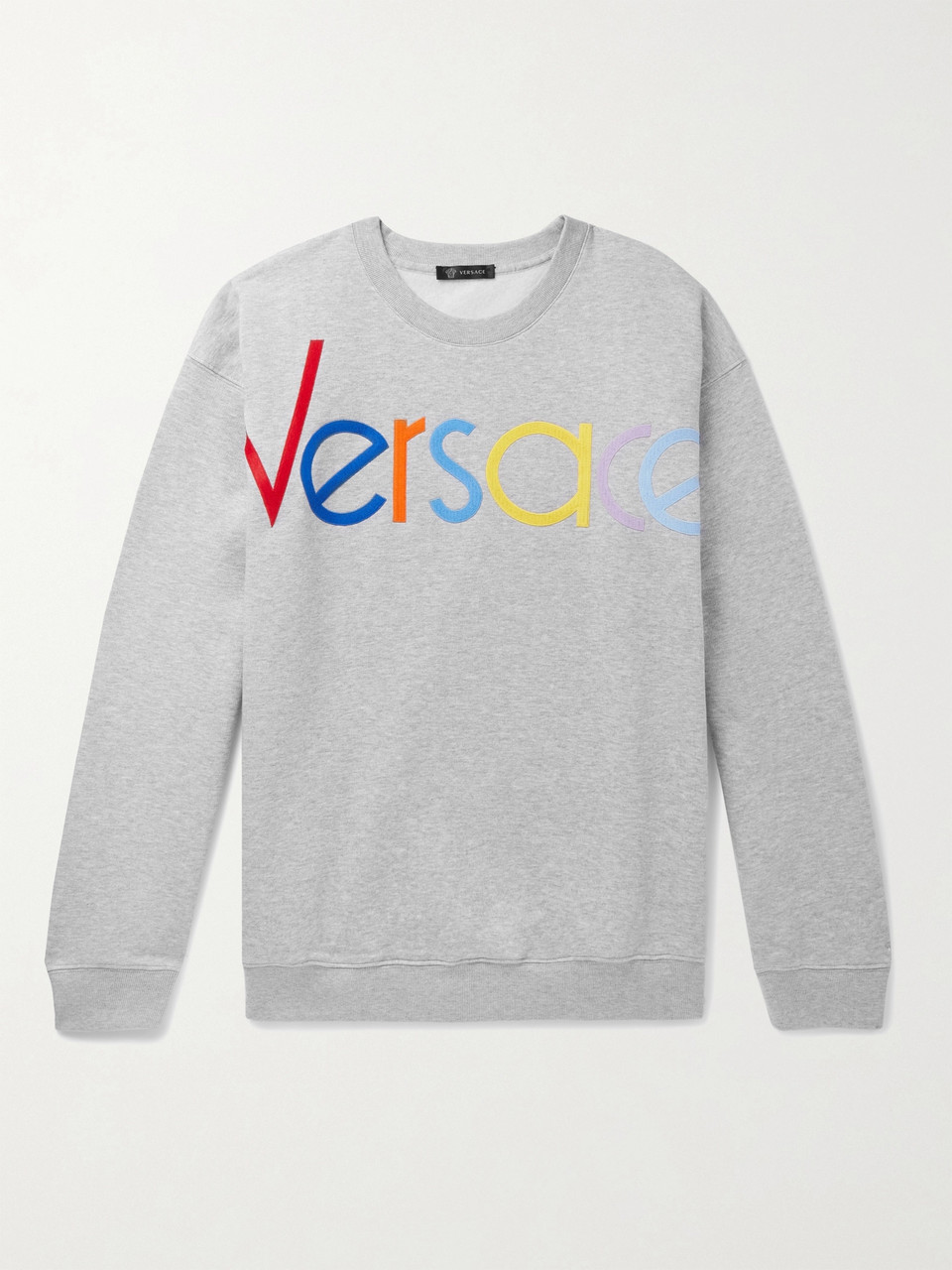 Versace Logo-Embroidered Mélange Fleece-Back Cotton-Jersey Sweatshirt