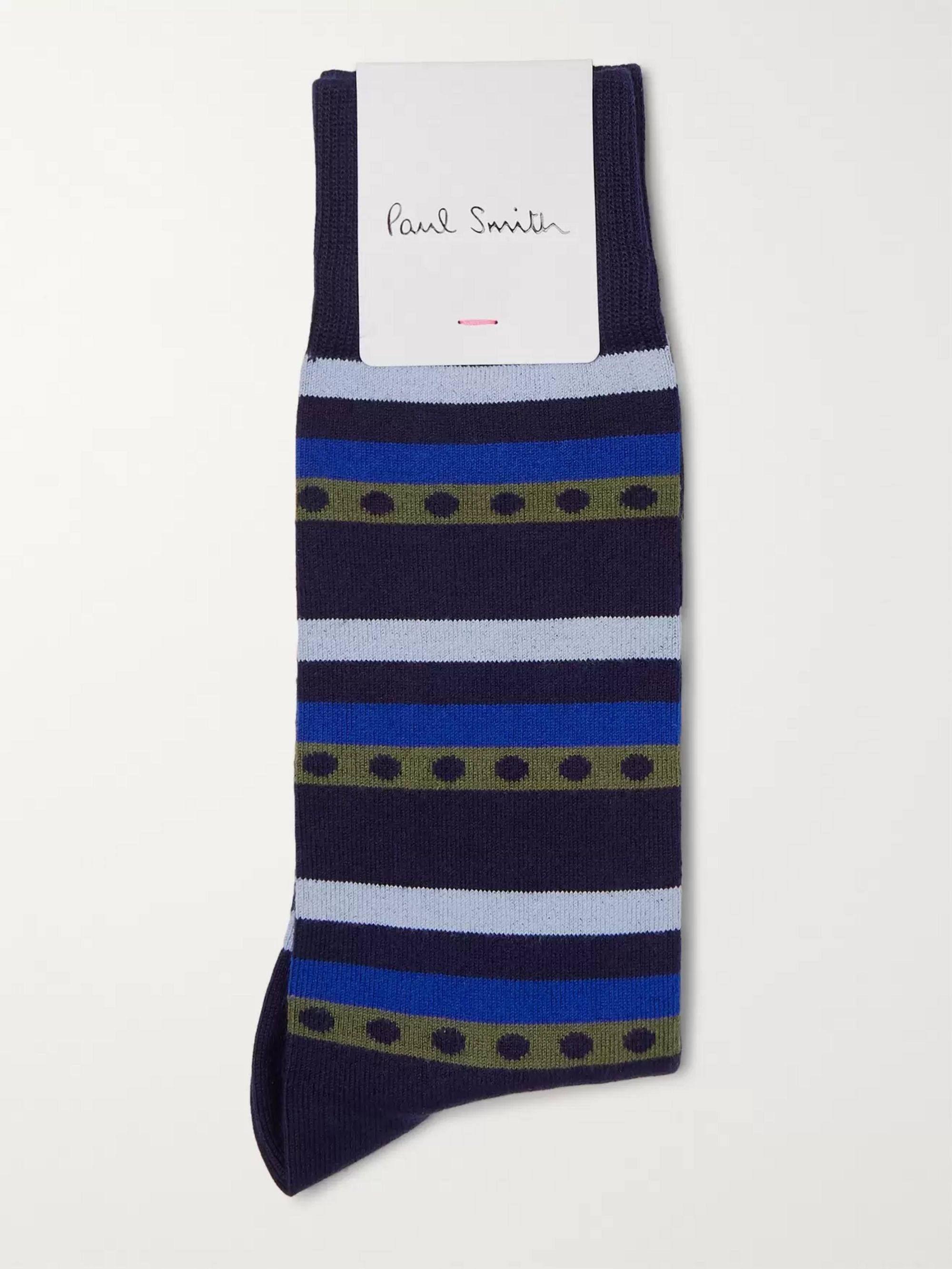 Paul Smith Striped Polka-Dot Stretch Cotton-Blend Socks