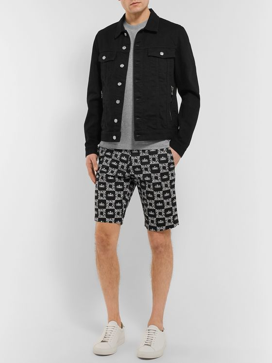 Dolce & Gabbana Slim-Fit Printed Denim Shorts