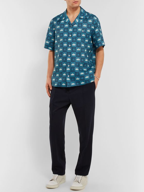 Dolce & Gabbana Camp-Collar Printed Linen Shirt