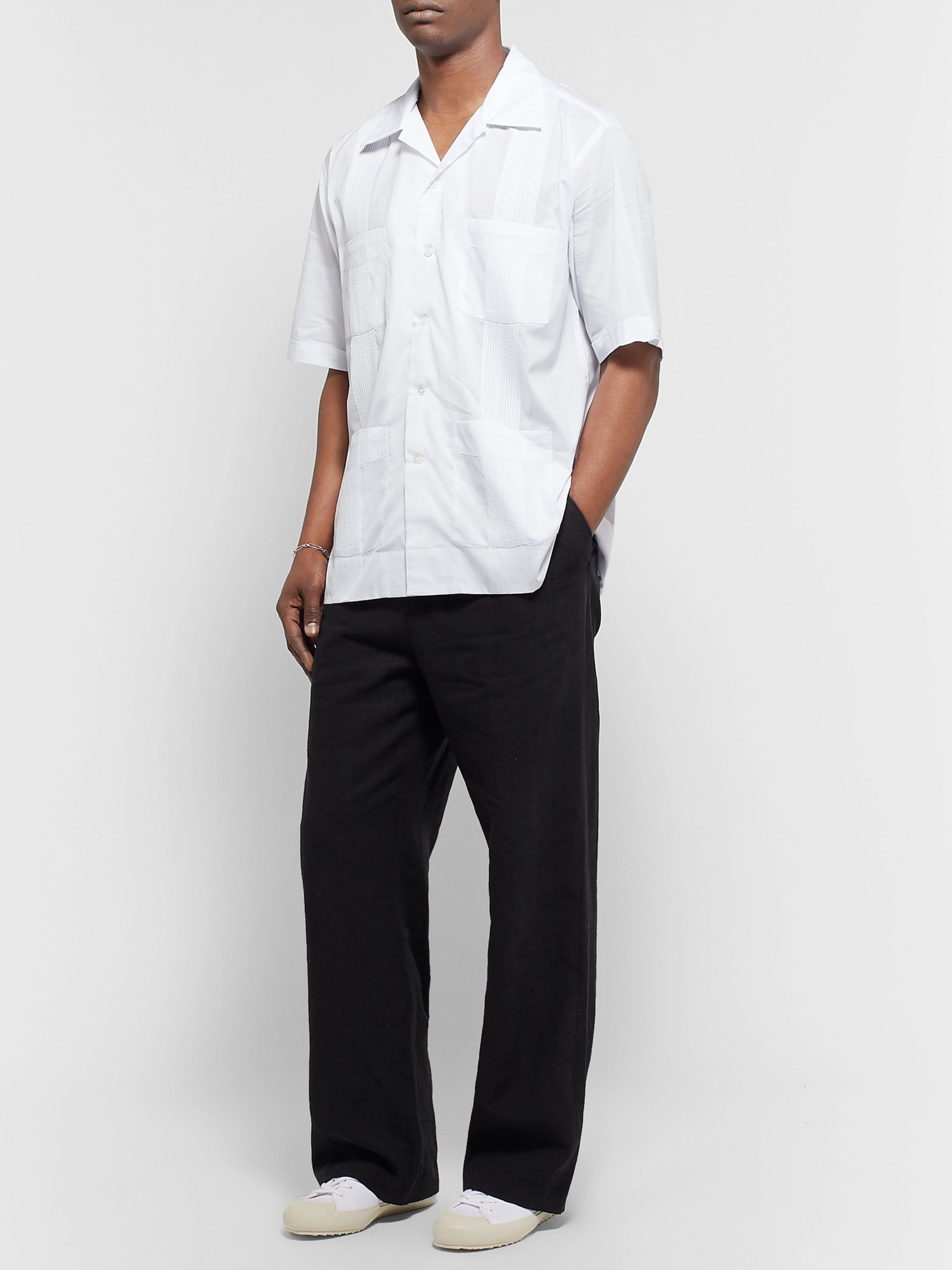 Auralee Camp-Collar Pintucked Pinstriped Cotton and Silk-Blend Shirt