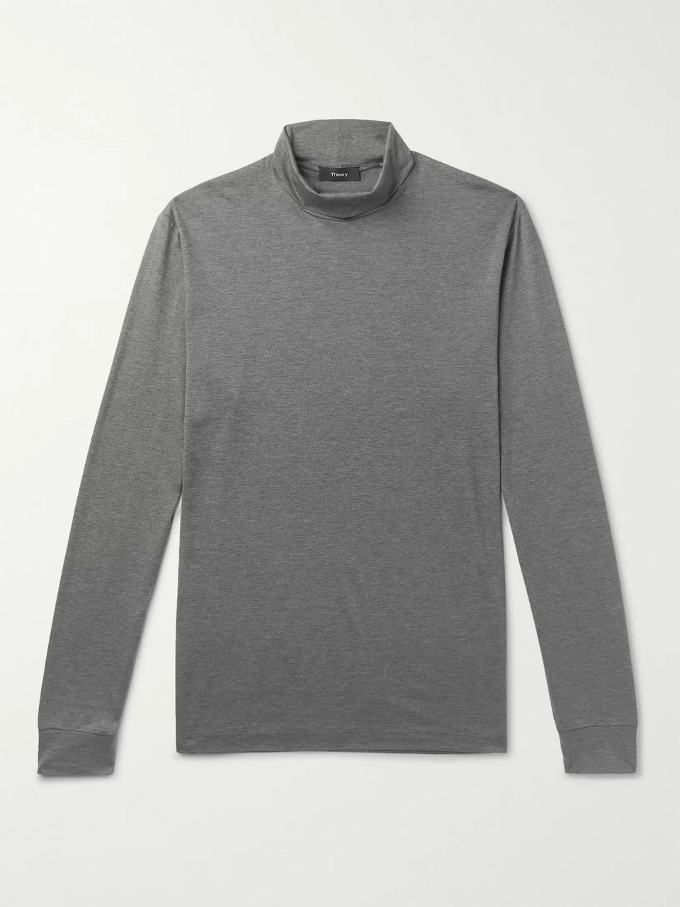 Theory Plaito Mélange Silk and Cotton-Blend Rollneck T-Shirt