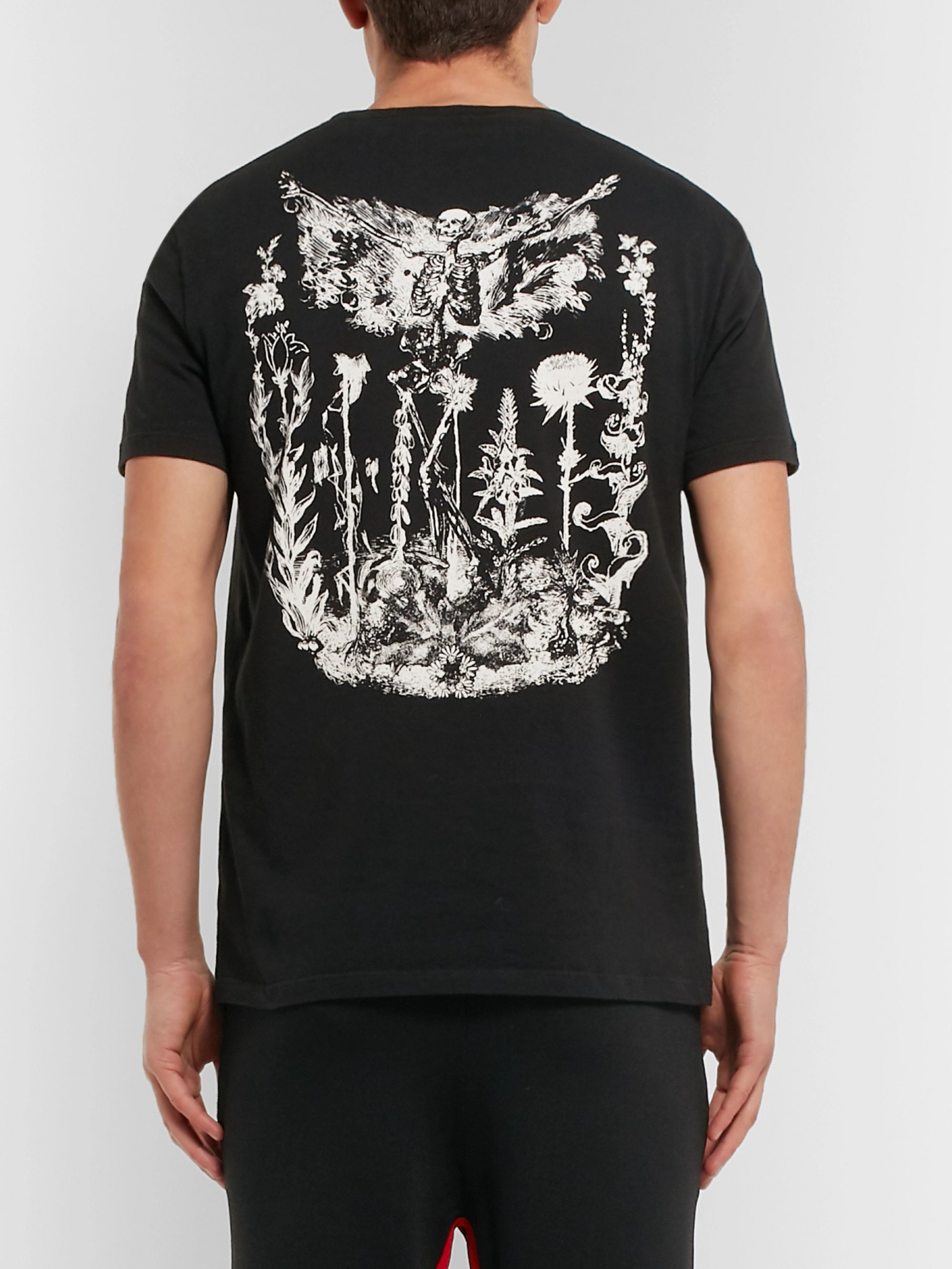 Alexander McQueen Logo-Embroidered Printed Cotton-Jersey T-Shirt