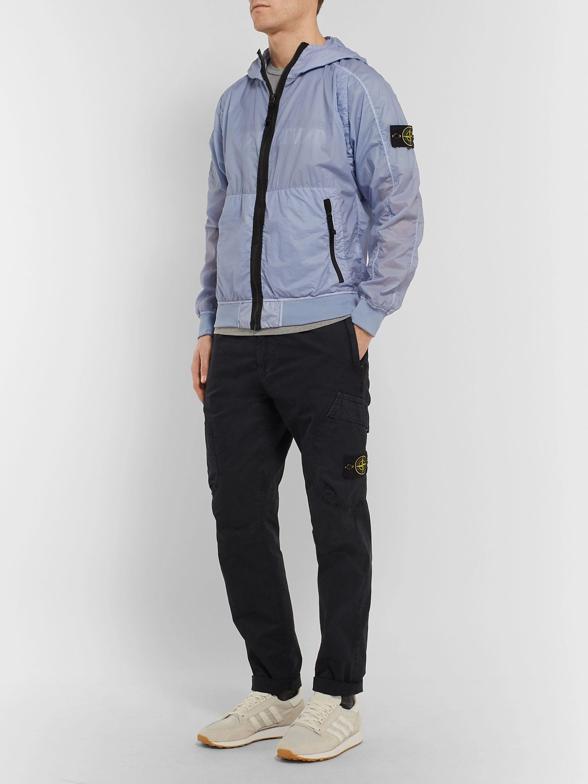 Logo-Appliquéd Garment-Dyed Shell Hooded Jacket