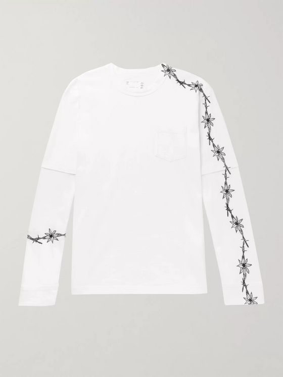 Sacai + Dr. Woo Embroidered Poplin-Panelled Cotton-Jersey T-Shirt