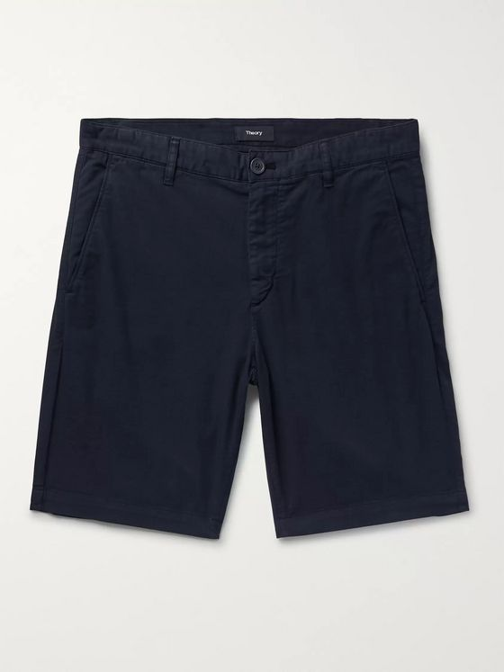 Theory Zaine Garment-Washed Cotton-Blend Twill Shorts