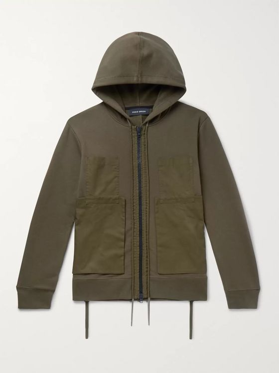 Craig Green Poplin-Panelled Cotton-Blend Jersey Zip-Up Hoodie