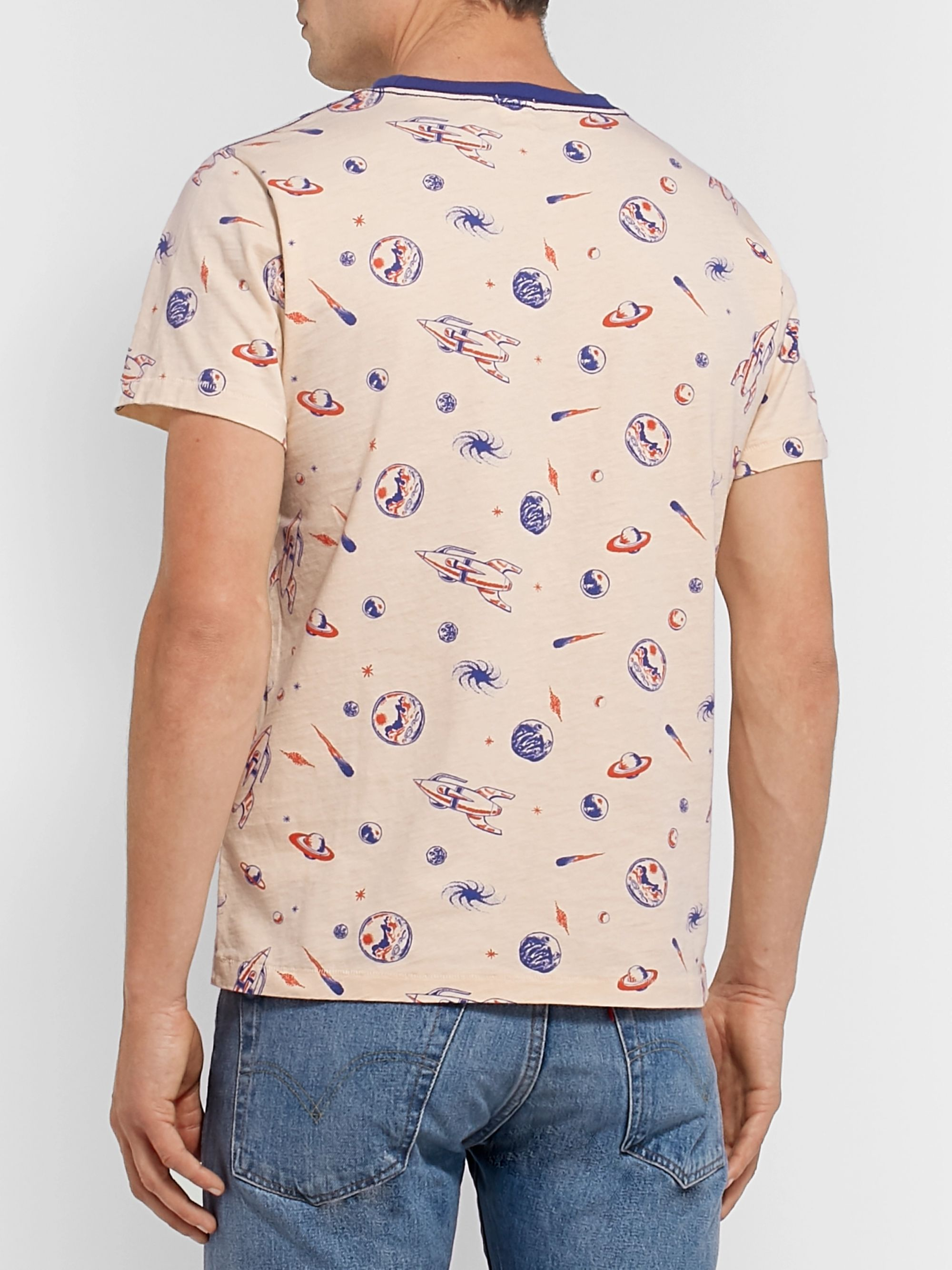 Slim Fit Printed Cotton Jersey T Shirt