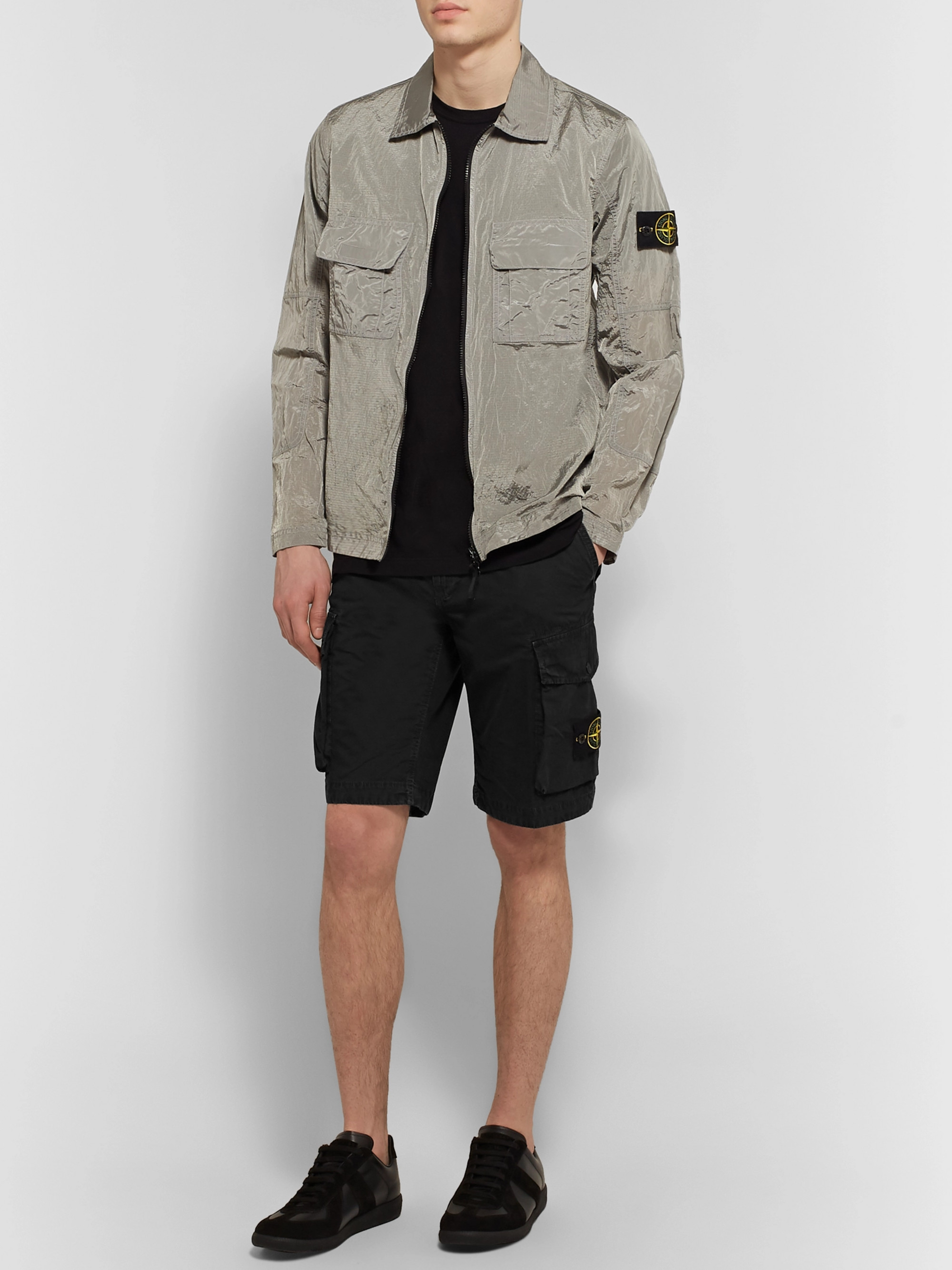 Stone Island Logo-Appliquéd Cotton Cargo Shorts