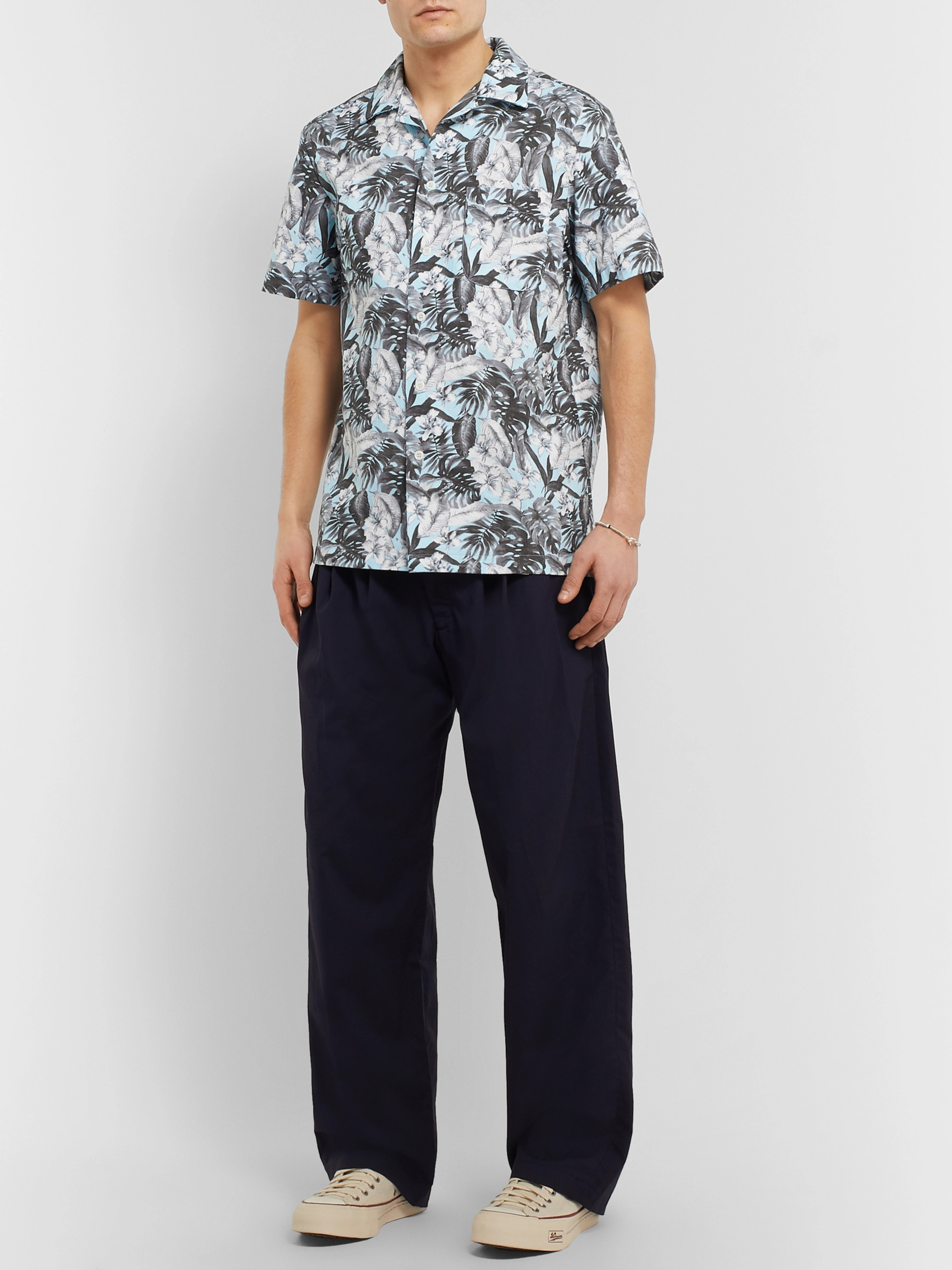 Monitaly Camp-Collar Floral-Print Cotton Shirt