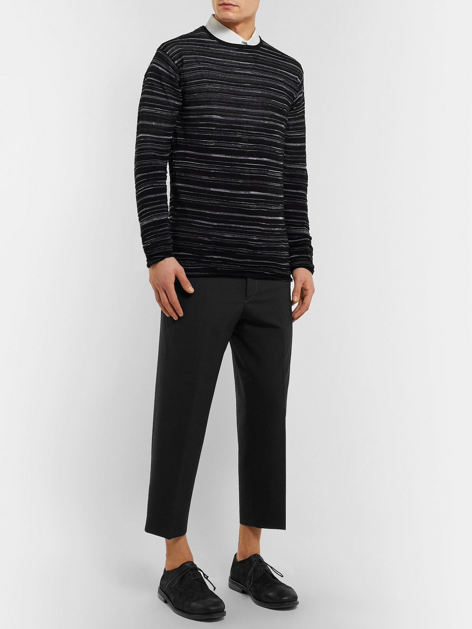 Isabel Benenato Slim-Fit Striped Knitted Sweater