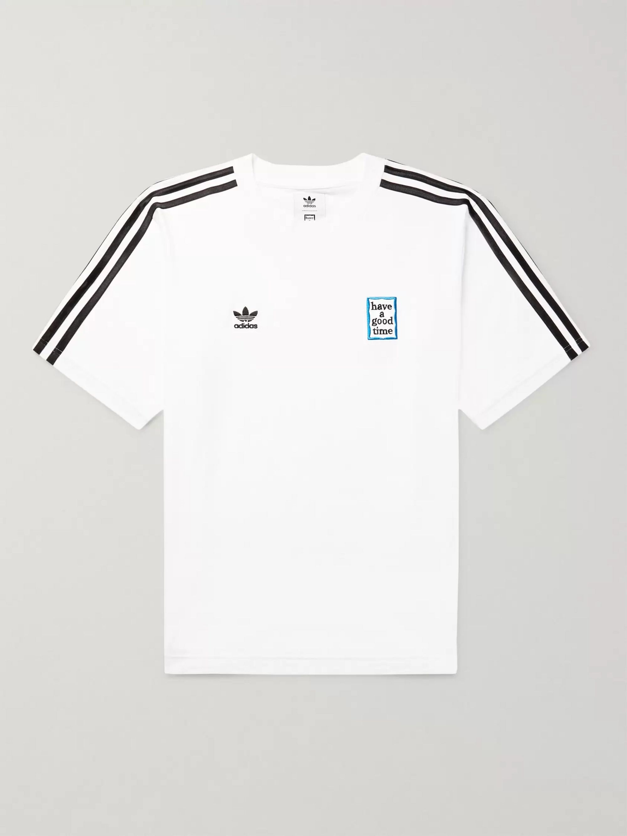 adidas Consortium + Have a Good Time Logo-Embroidered Striped Cotton-Jersey T-Shirt