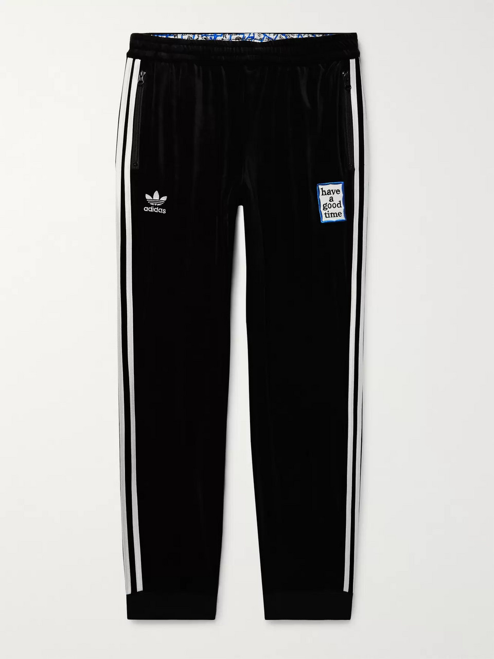 adidas Consortium + Have a Good Time Tapered Logo-Embroidered Striped Velour Sweatpants