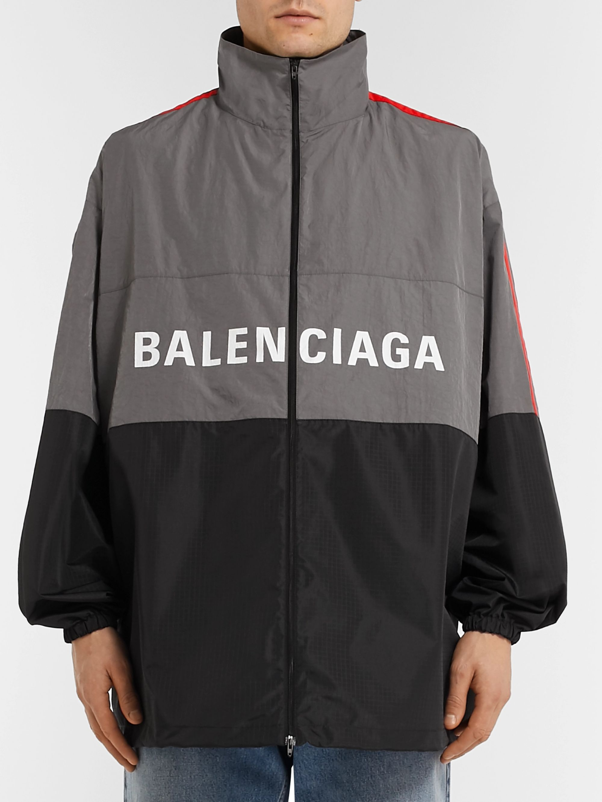 Balenciaga Oversized Striped Logo-Print Ripstop and Shell Jacket