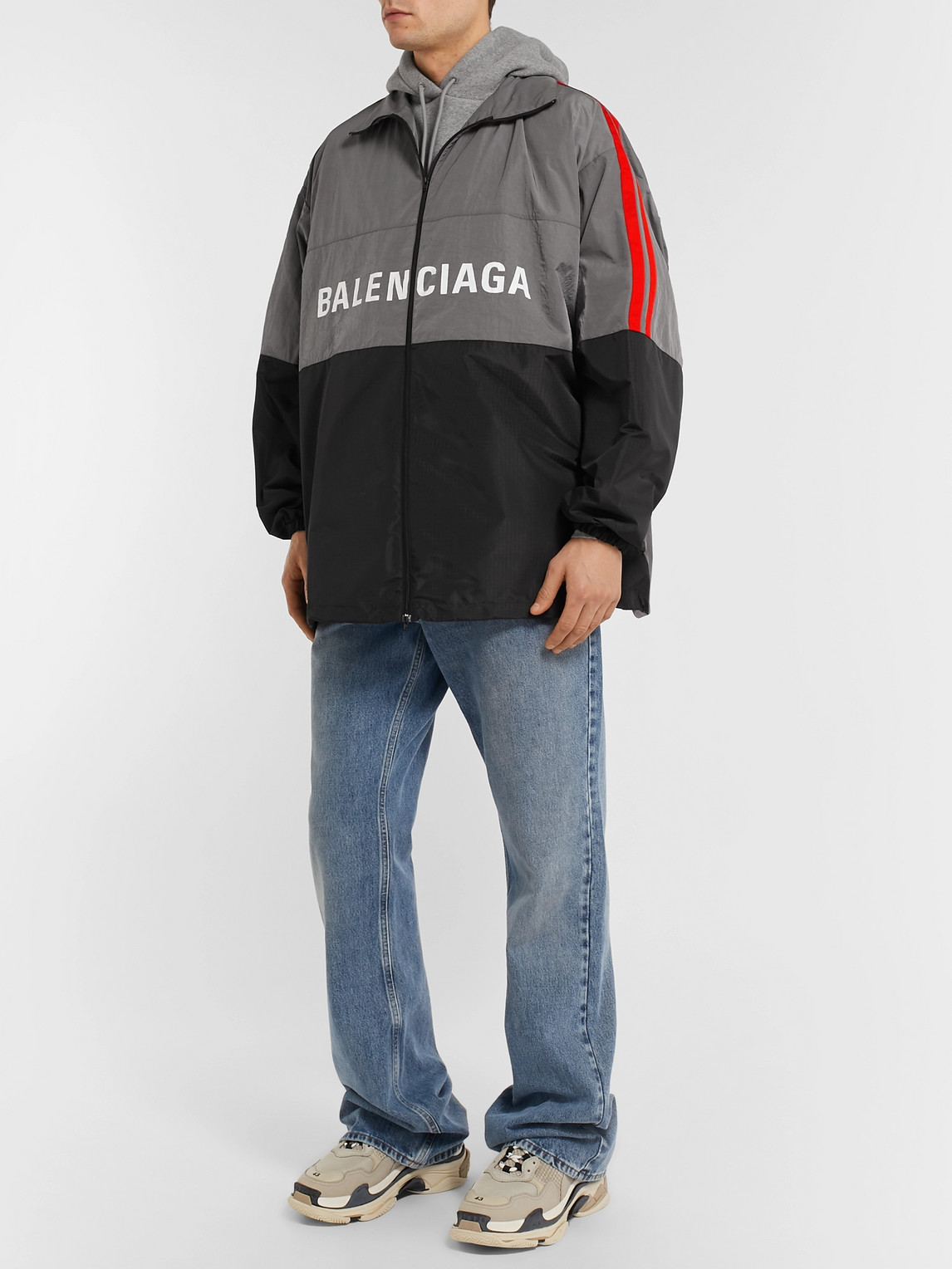 Balenciaga Jackets OVERSIZED STRIPED LOGO-PRINT RIPSTOP AND SHELL JACKET