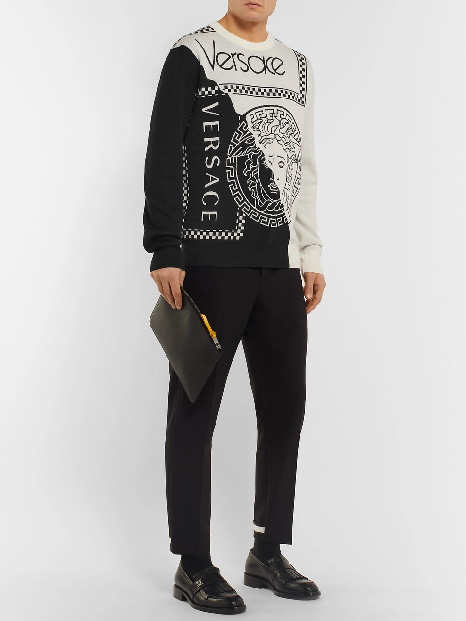 Versace Logo-Intarsia Cotton and Wool-Blend Sweater