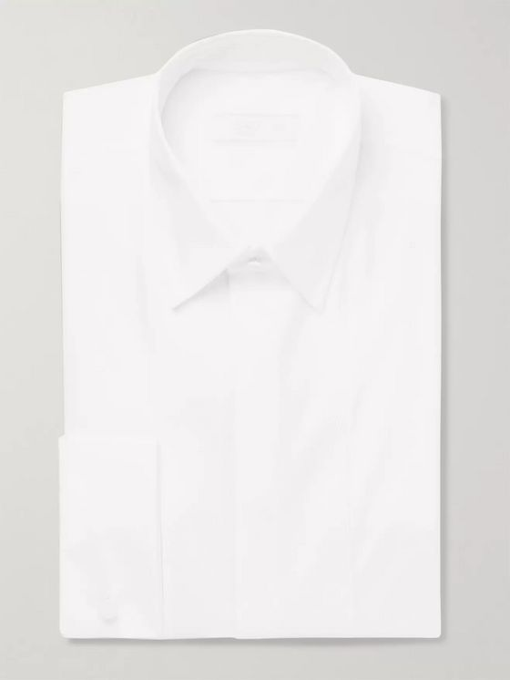 Prada White Double-Cuff Bib-Front Cotton Tuxedo Shirt
