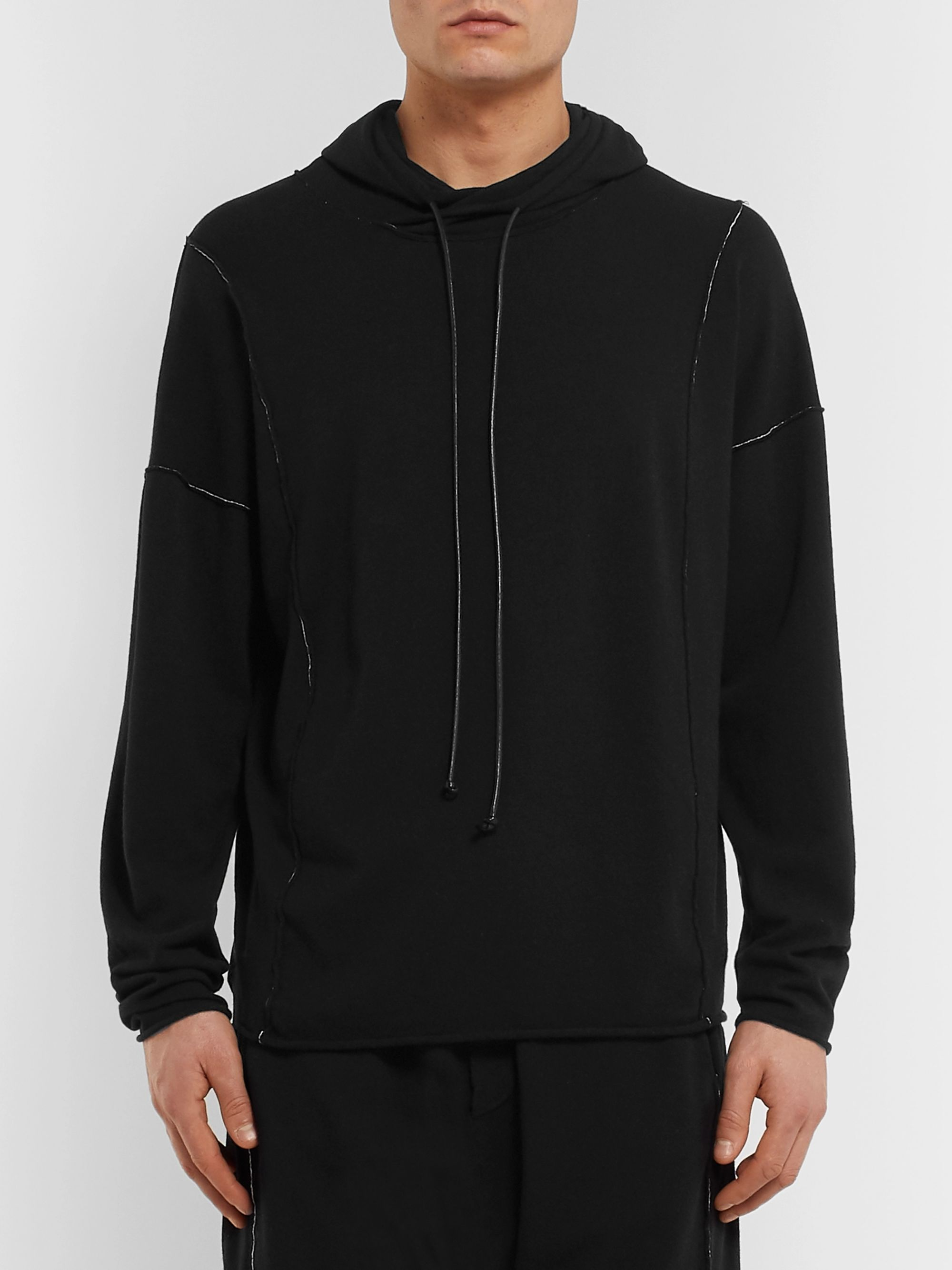 Isabel Benenato Embroidered Loopback Jersey Hoodie