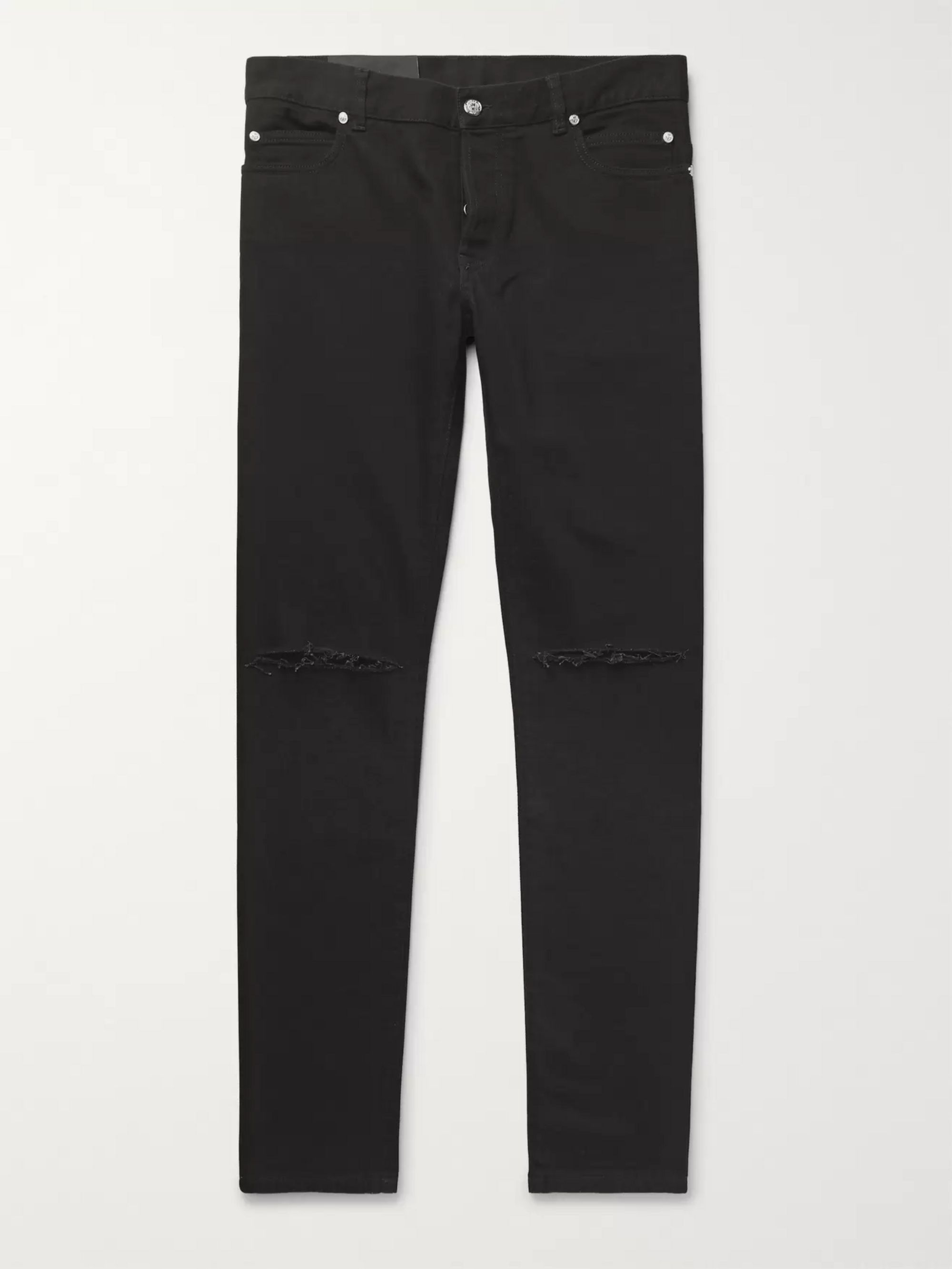 Slim Fit Logo Embroidered Distressed Denim Jeans by Balmain