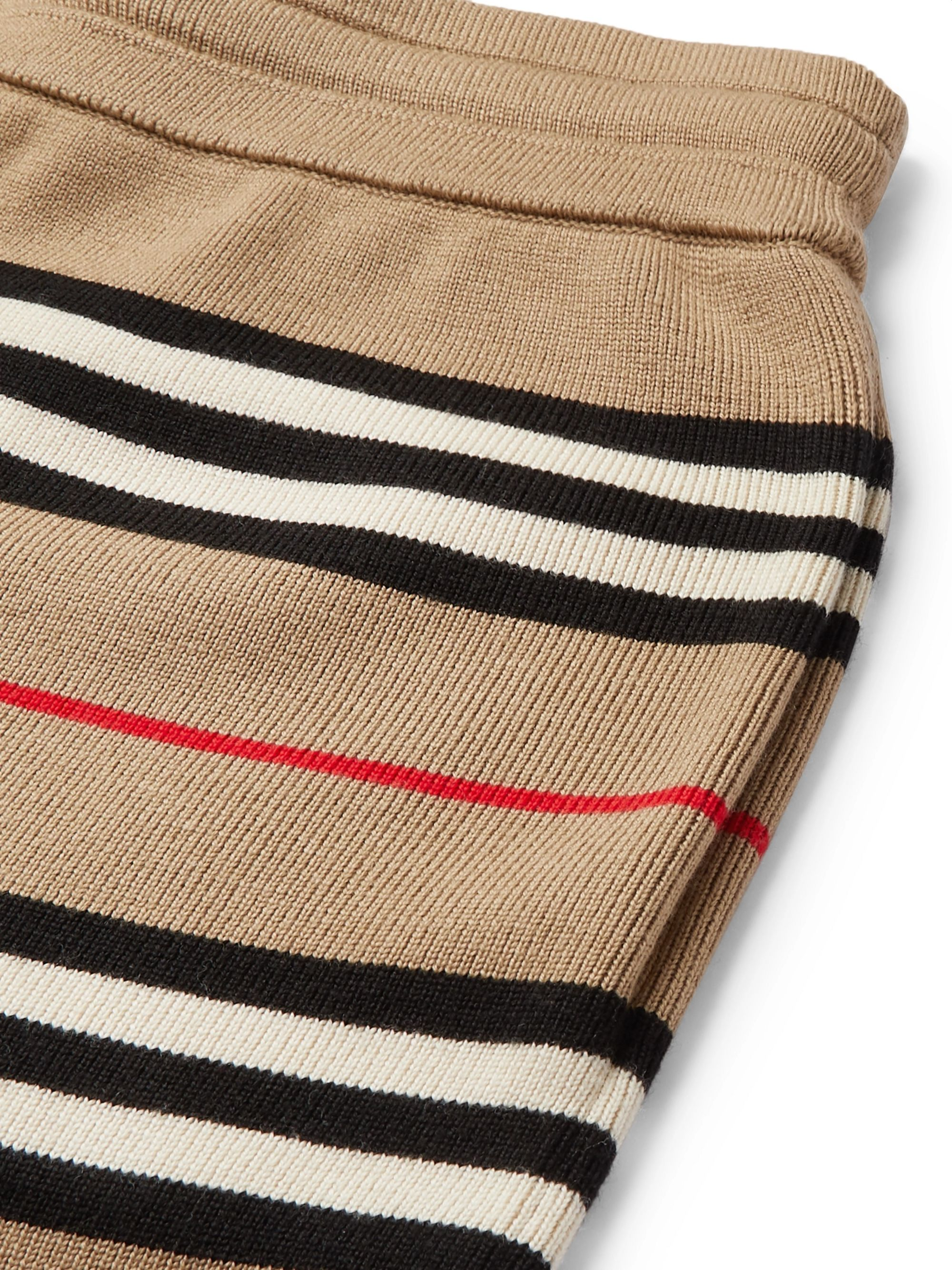 Burberry Striped Merino Wool Drawstring Shorts