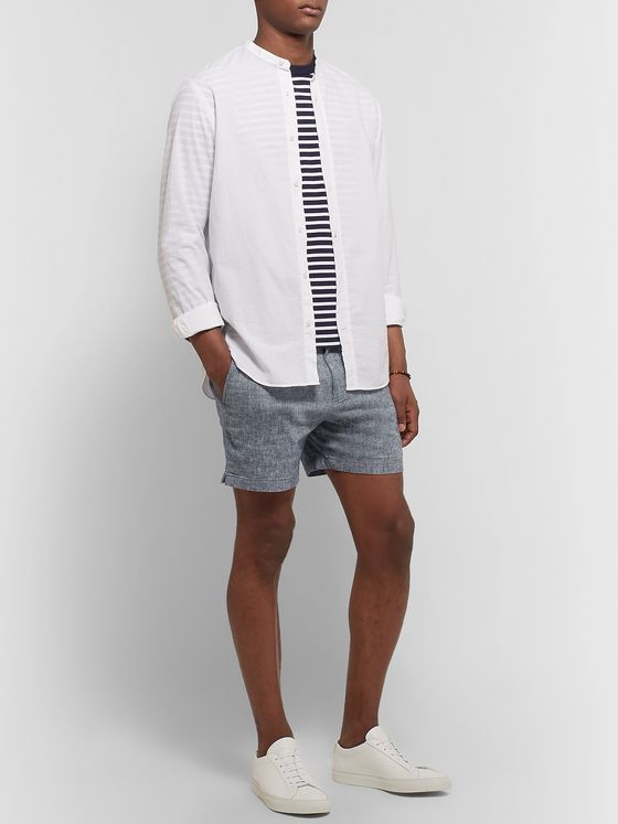 Club Monaco Jax Slim-Fit Stretch-Linen and Cotton-Blend Chambray Shorts