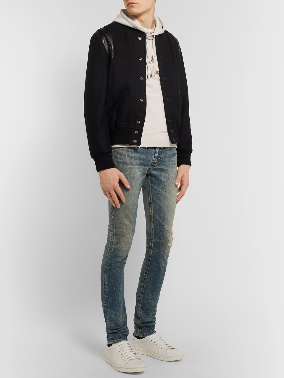 5149551b657 Off-white Logo-Print Loopback Cotton-Jersey Hoodie | SAINT LAURENT ...