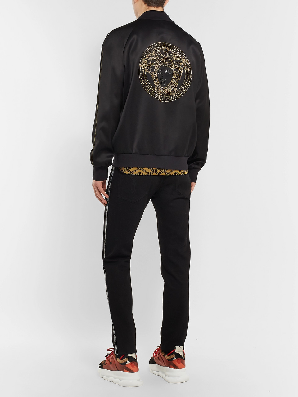Versace Crystal-Embellished Satin Bomber Jacket