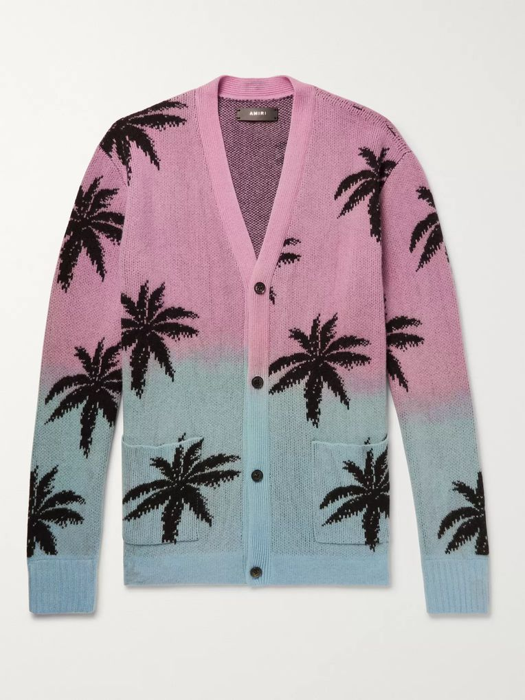 AMIRI Oversized Palm Tree-Intarsia Cashmere and Virgin Wool-Blend Cardigan