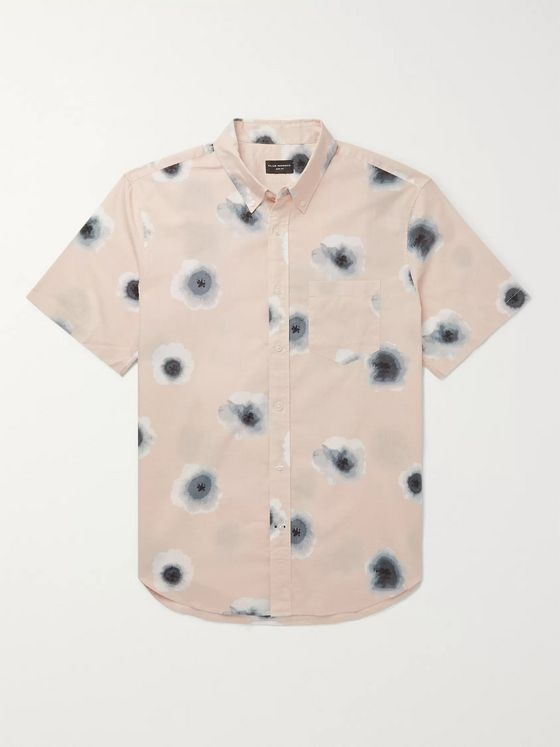 Club Monaco Slim-Fit Button-Down Collar Printed Cotton-Poplin Shirt