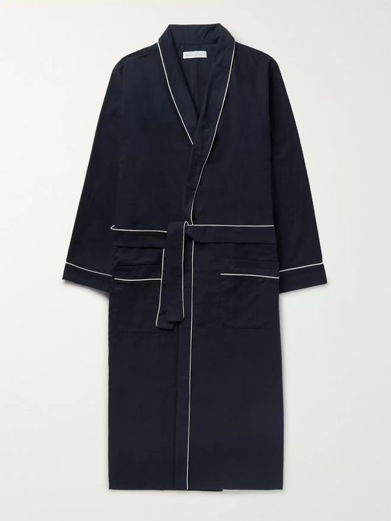 Desmond & Dempsey Brushed Cotton-Twill Pyjama Robe