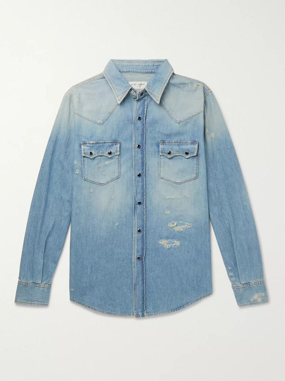 SAINT LAURENT Slim-Fit Distressed Denim Shirt