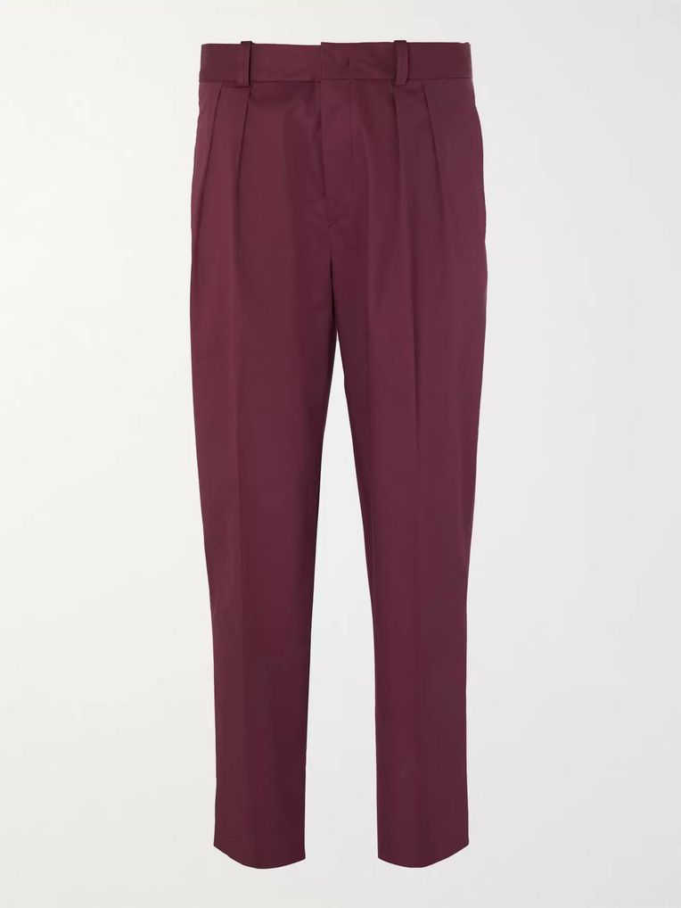 Isabel Marant Nicklas Cropped Tapered Pleated Cotton Twill Trousers